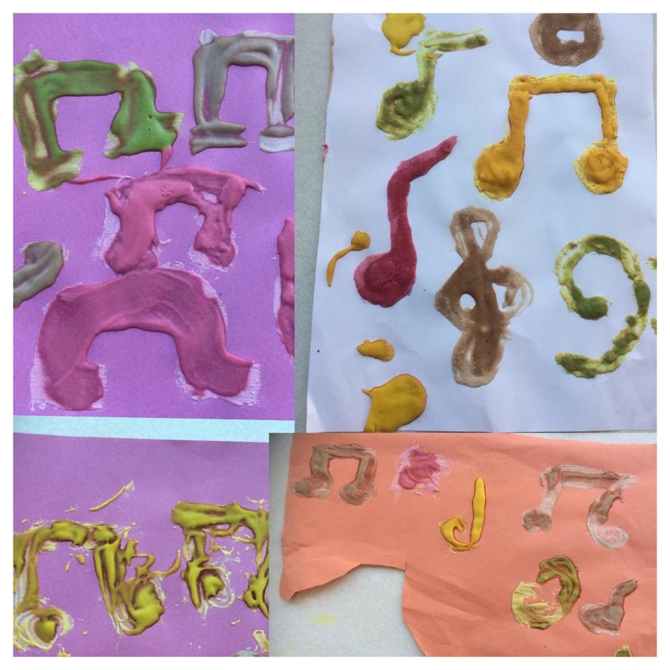 Musical notes using puffy paints.