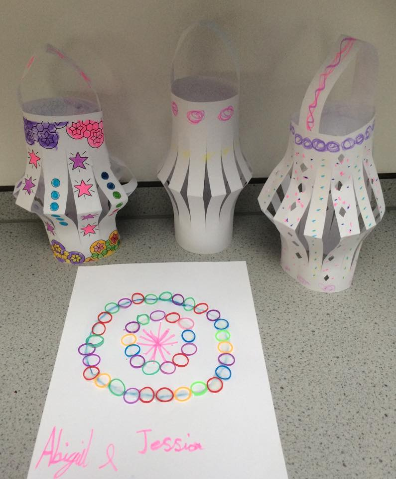 09/11/15- Our Diwali lanterns and a Rangoli pattern made from loom bands