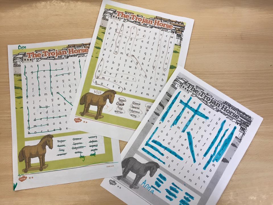 04/07/16- 15/07/16- Greece Week. Trojan horse wordsearch