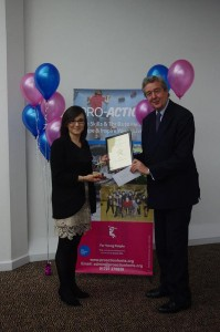 Collecting our certificate, award and grant!