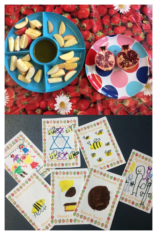 Rosh Hashanah is the Jewish New Year festival. 13/09-15-1/09/15 It commemorates the creation of the world. It's a time for people to think about their priorities in their life and to reflect on what has been achieved in the past. We spoke about our achievements this year and what we hope to achieve next year- some very aspirational children we have! We had honey and apple to symbolise the sweetness of the coming year and also spoke about the Symbol of the pomegranate and how all 613 seeds represent the commandments that Jewish people live by oh and made cards!